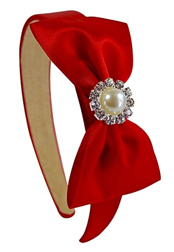 (Simple Satin Bow Red Arch Headband with Jeweled)