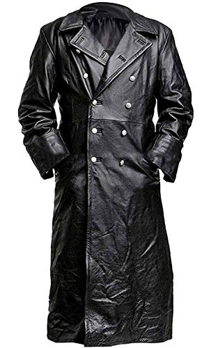 German Classic Officer Leather Black Trench Coat ()