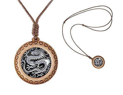 XUTAI Custom Vintage Charm Wooden Glass Necklace Pendant Jewelry for Women's Mom (Chinese Dragon Asian Oriental Black White - Pendant Oriental Dragon