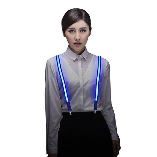 Light Up LED Suspenders Adjustable One-size for Party Concert Men&Women - Blue