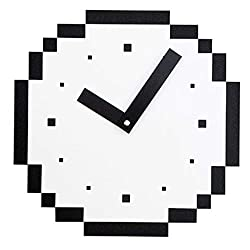 White Pixel Style Mute Living Room Study Art Wooden Wall Clock (Color : White)