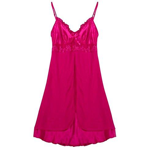 CieKen Pajamas Women Nightgowns Bathrobe Sleeveless Sleepwear Robes Fleece Satin Soft Lingerie Dress (Hot Pink, 4XL) (Silky Nightie)