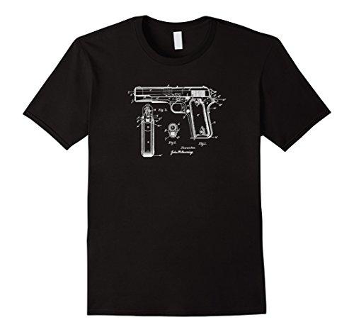 Men's 1911 Pistol Patent Drawing, Military Gun History T-shirt XL Black