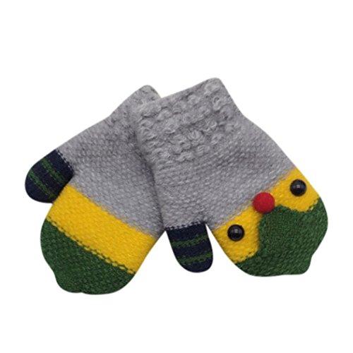Staron Kids Toddler Gloves Mittens Baby Boy Girls Winter Warm Thicken Knit Gloves (Gray)