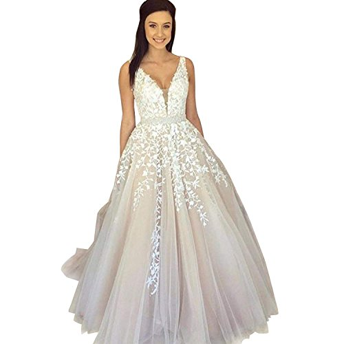 YOUTODRESS Ball Gown Wedding Dresses V Neck Lace Women Bridal Gowns Backless