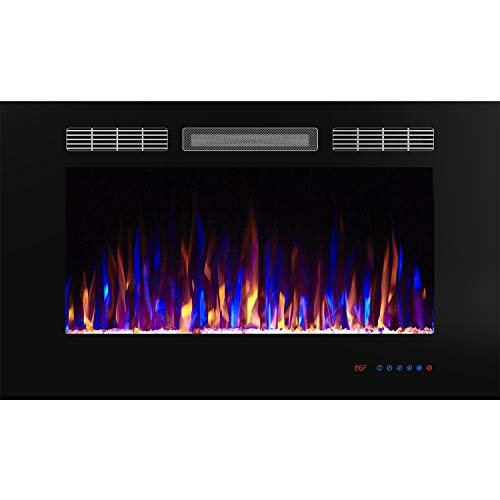 "Flameline Dannis 36"" 750W/1500W, in-Wall Recessed Electric Fireplace Heater w/Touch Screen Panel, Black"