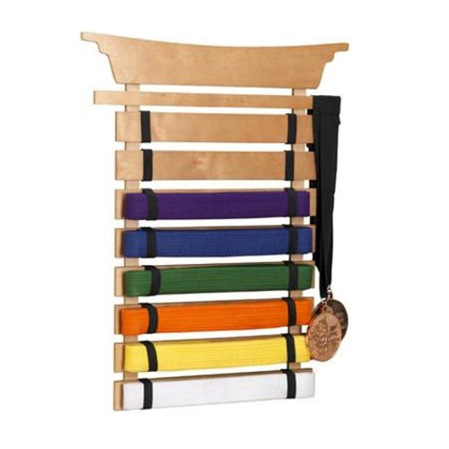KidKraft Martial Arts Wooden Belt Holder Hanging Display for 8 Belts  (Unpersonalized) (Best Martial Arts For Kids)