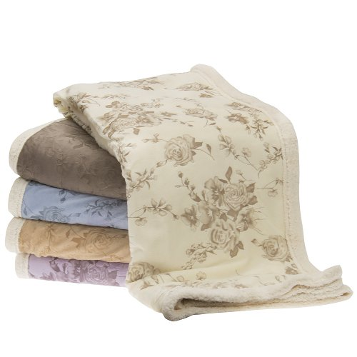 """CHRISTMAS SUPER SPECIAL !! Victoria Rose , Cudly Sherpa Plush Throw - Blanket 50"""" X 60"""" , BLUE"""