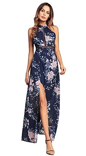 Halter Neck Chiffon Dress Floral Print Backless Beach Long Maxi Dresses (S, Blue) (Chiffon Print Halter Dress)