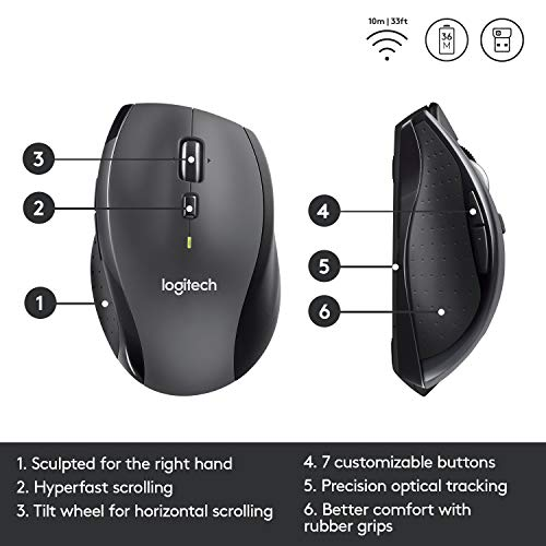 Logitech M705 Marathon Wireless Mouse – Long 3 Year Battery Life, Ergonomic Sculpted Right-Hand Shape, Hyper-Fast Scrolling and USB Unifying Receiver, for Computers and laptops, Dark Gray