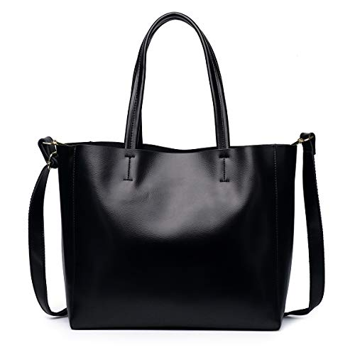 Zg Women Genuine Leather Top Handle Satchel Daily Work Tote Shoulder Bag Large Capacity ()