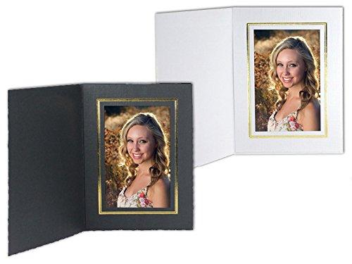 White Cardboard Paper Portrait Photo-mount Folder 5x7 frame w/gold foil border sold in 25s - - Portrait White Cardboard