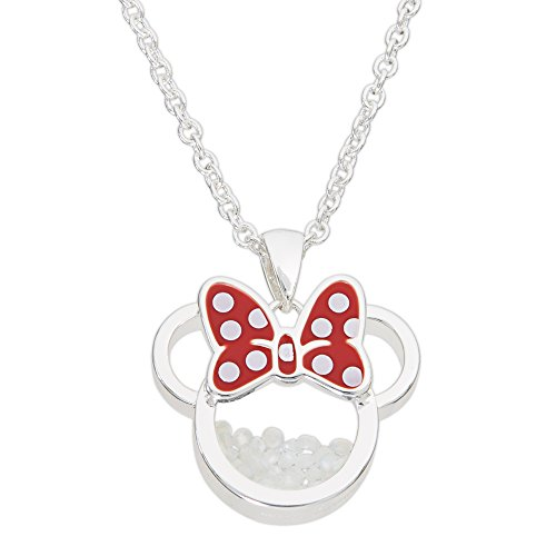 Disney Birthstone Women and Girls Jewelry Minnie Mouse Silver Plated October Synthetic White Opal Shaker Pendant Necklace, 18+2