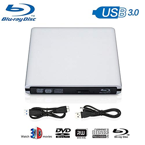 Blu Ray Drive External, Blu-ray Player USB 3.0 DVD CD RAM Burner Play 3D 4K Disk CD Re-Writer Ultra-Slim Portable Compatible for Notebook Mac Book OS Windows 7 8 10 PC (Sliver) (Drive Compact Disk)