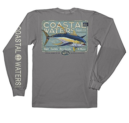 (Coastal Waters Tuna Supply Long Sleeve Pocket Tee, Mens Tshirt (Titanium, Small))