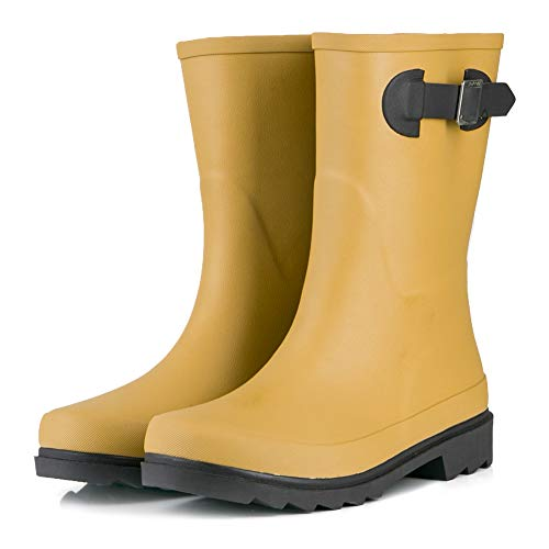 JOYCORN Women's Rain Boots Classic Waterproof Rubber Mid-Calf Wellie,(Yellow Brown, 8 B M US)