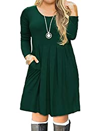 Women's Plus Size Casual Long Sleeve Pleated T Shirt Dress with Pockets