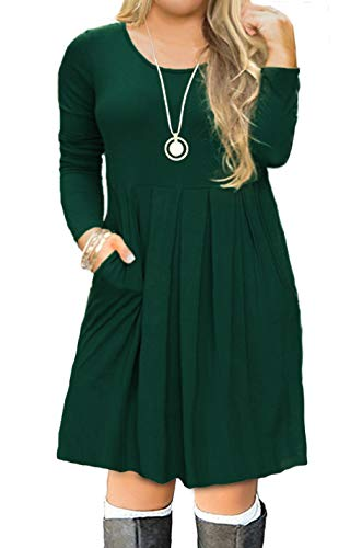 FOLUNSI Women's Plus Size Long Sleeve Pleated Causal Loose Swing Midi Dress with Pockets Dark Green 2XL ()