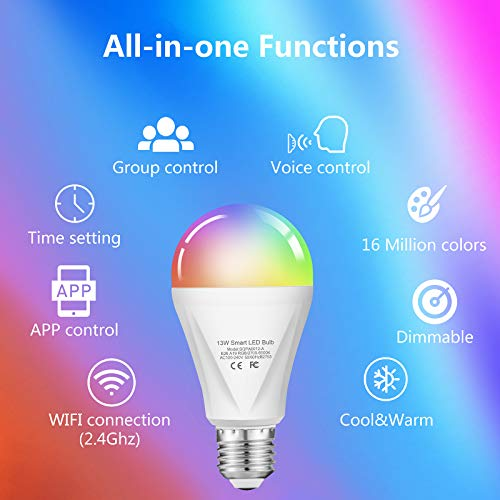 Alexa Smart WiFi Light Bulb, Wixann 13W RGBCW Color Changing Led Bulb 120W Equivalent, 2700K-6500K 1300LM Dimmable Multicolor Bulb A19 E26, Compatible with Alexa Google Home, No Hub Required - 1 Pack