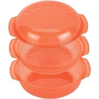 Whirlpool STM004, Recipiente para Cocinar al Vapor en el Microondas, Redondo, 1,5 Litros, Naranja