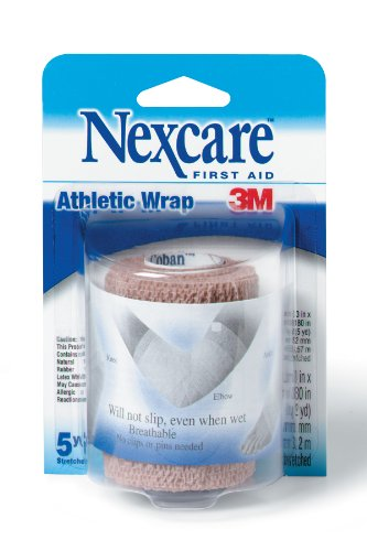 Nexcare Athletic Wrap, 3-inch x 5-Yard Stretched, Tan Color (Pack of 3) (Athletic Nexcare Wrap)