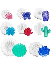 8 Pcs Succulent Silicone Mold, SENHAI Cactus Candle Resin Molds for Cake Decorating Chocolate Candy Polymer Clay Wax Mini Soap