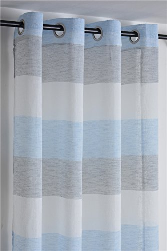DEZENE Stripe Sheer Curtains for Bedroom - 2 Panels - Faux Linen Grommets Window Treatment Curtains - 54 Inches Width x 63 Inches Long (Total 108