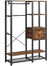 VASAGLE szafa otwarta, wieszak na ubrania, szafa, metal, drążek, 2 szuflady, siatka, do sypialni, do garderoby, 120 x 40 x 180 cm, industrialny design, vintage brązowo-czarny RGR001B01
