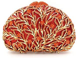Donna Cristallo/Rheditone Metal Evening Bag Rhinestone Crystal Evening Bags Floral Print Golden/Silver/Red, Argento Rosso