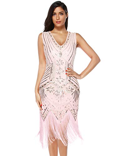 Meilun 1920s Sequined Vintage Dress Beaded Gatsby Flapper Evening Dress Prom (L, Pink)