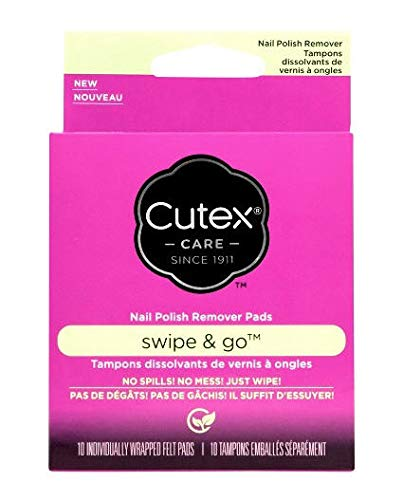 Cutex Care Swipe and Go Nail Polish Remover Pads, 10 Count ()