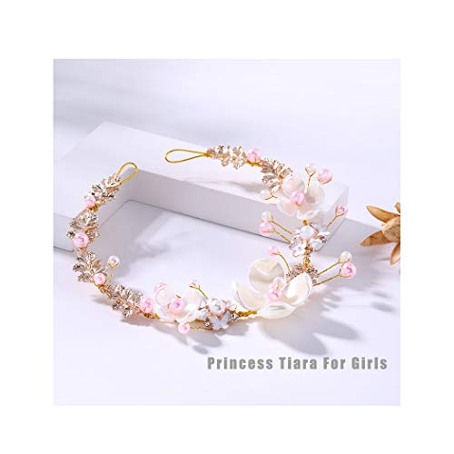 Campsis Cute Princess Flower Headband for Girl and Flower Girls Wedding Tiaras Suitable on Wedding Party Evening and Birthday. -