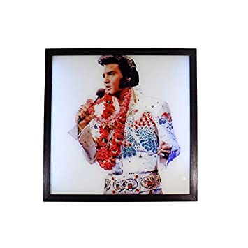 LED Licht Elvis Presley Glitzer Schwarz Weiß Rot Art Wand Bild 44 x ...