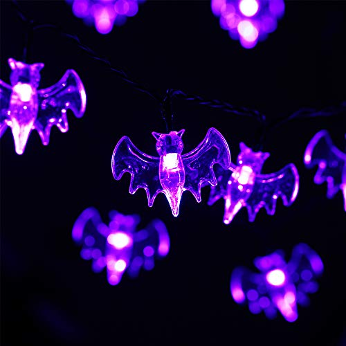 HAYATA Halloween String Lights - 30 LED 11.2ft Battery Purple String Lights - Halloween Bat Decor Indoor, Garden, Yard, House, Party, Holiday, Halloween Decorations