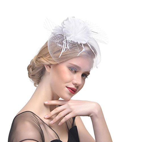 Challyhope Clearance! Flower Cocktail Tea Party Headwear Feather Mesh Net Veil Fascinators Top Hat for Girls and Women (White)
