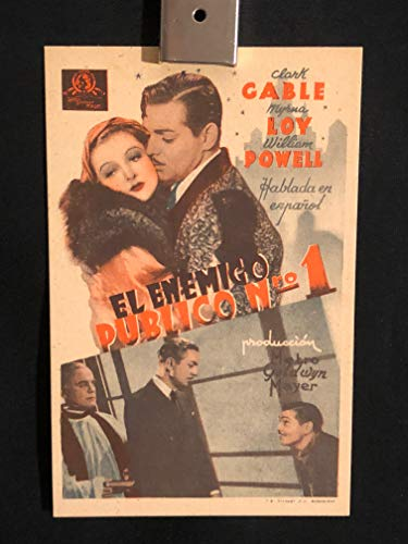 Manhattan Melodrama 1934 Original Vintage Spanish Herald Program Movie Poster, New York, NY, NYC, Manhattan, Clark Gable, Myrna Loy, William Powell