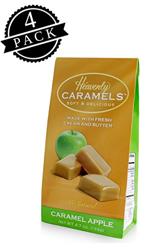 J Morgan Confections Heavenly Caramels, Caramel Apple Flavor (4.7 oz bag, 4-Pack); Gourmet, Artisan Soft and Chewy Butter Caramel Candies, Creamy and Smooth, Hand-Crafted Golden Treats