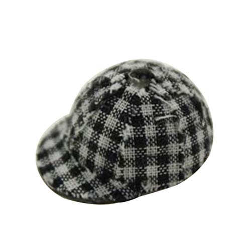 (Floralby Dollhouse Accessories Miniature Grid Hat Baseball Cap Kids Pretend Play Toy)
