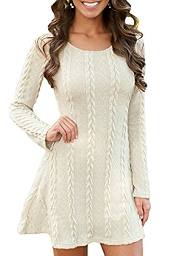 [Sueetyus Womens Casual Soft Knitted Round Neck Long-Sleeved Mini Tops Sweater Dress White 3XL] (Striped Envelope Neck Sweater)