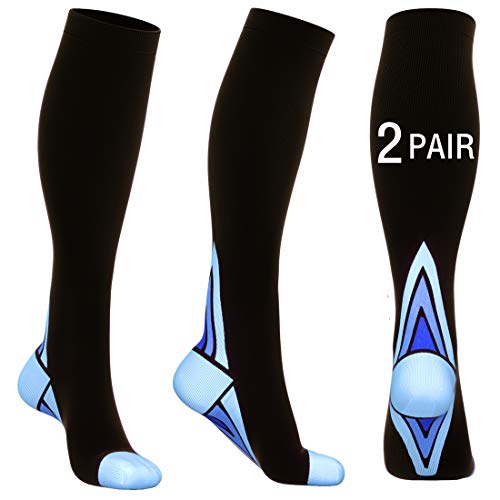 (2 Pair) Compression Socks for Men&Women(20-30mmhg) Best Graduated Athletic Fit for Running,Nurses,Shin Splints,Flight Travel&Maternity ((2 Pair) Black & Blue, S/M (US Women 5.5-8.5 / US Men 5-9))