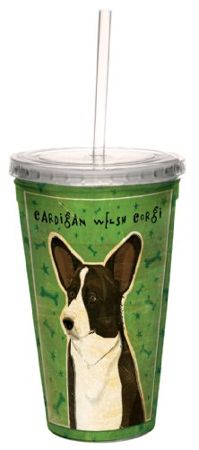 (Tree-Free Greetings cc34035 Cardigan Welsh Corgi by John W. Golden Artful Traveler Double-Walled Cool Cup with Reusable Straw, 16-Ounce)