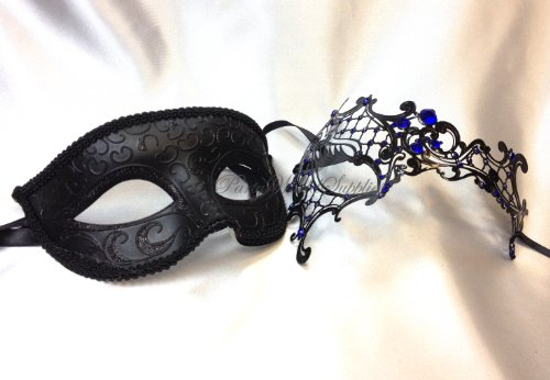 Couple Masquerade Mask Pair for Men and Women Laser Cut Metal Costume Masquerade Mask by partyworldsupplies