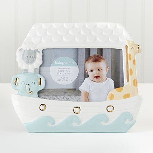 (Baby Aspen, Ceramic Noah's Ark Frame, Keepsake, Nursery)