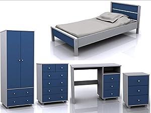 Miami 5 Piece Blue White Children Bedroom Furniture Set   Bed, Wardrobe,  Drawers, Dressing Table, Bedside