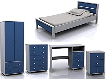 Miami 5 Piece Blue White Children Bedroom Furniture Set ...