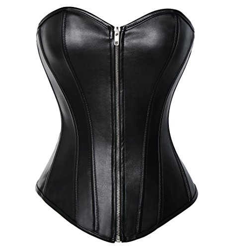 Vaslanda Womens Sexy PU Steampunk Corset Faux Leather Buckle Zipper Bustier Top Plus Size