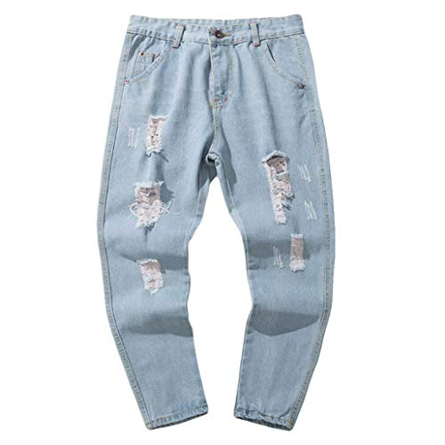 Alimao 2018 Autumn Pants Mens Casual Autumn Denim Cotton Vintage Hip Hop Trousers Shredded Jeans Pants by Alimao