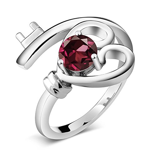0.60 Ct Round Red Rhodolite Garnet 925 Sterling Silver Heart Key Ring (Ring Size (Black Silver Key Ring)