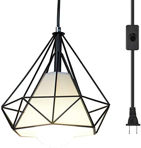 Ganeed Pendant Light,Plug in Hanging Lamps,Industrial Vintage Mini Wire Kitchen Chandeliers Fixtures with Metal Cage Shape,Hanging Lights with 16.4ft Cord On Off Switch