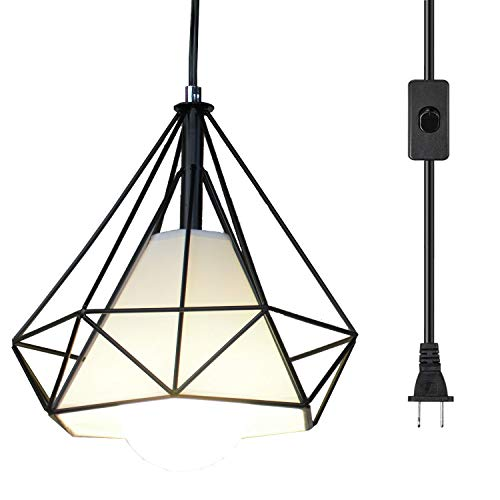 Ganeed Pendant Light,Plug in Hanging Lamps,Industrial Vintage Mini Wire Kitchen Chandeliers Fixtures with Metal Cage Shape,Hanging Lights with 16.4ft Cord On/Off Switch - Mini Hanging Lamp